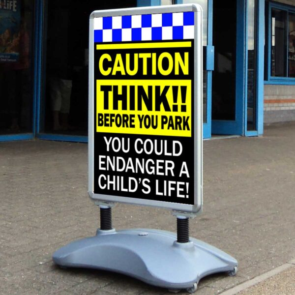 CAUTION Think before you park safety road sign