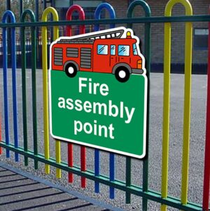 Fire Assembly Point Fire Engine Warning alternate image