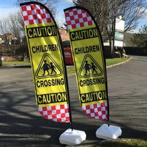 Feather Flying Flags Road Safety Caution Banners Pack of 2