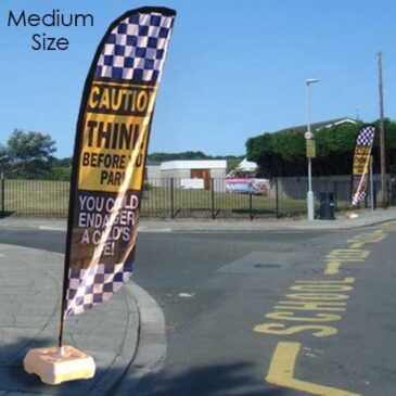 Caution child road safety flags