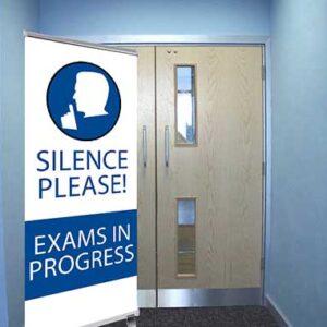 Silence Please Exams in Progress Quiet Logo