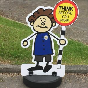 Kiddie Cut Out Road Safety Parking Buddies Pavement Signs with Lollipop Message