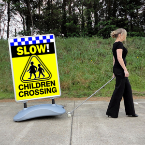 CHILDREN CROSSING SLOW Heavy Duty Pavement Safety Sign alternate image