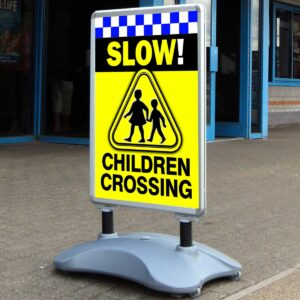 Children Crossing Slow Safety Sign
