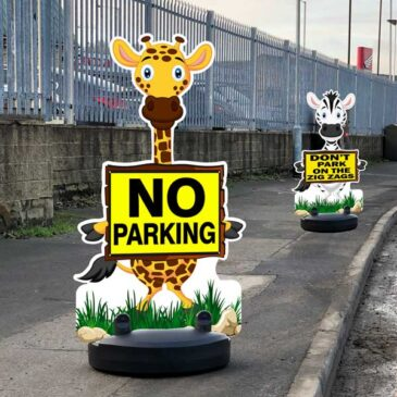 Cartoon Animal Buddies Road Safety Pavement Signs