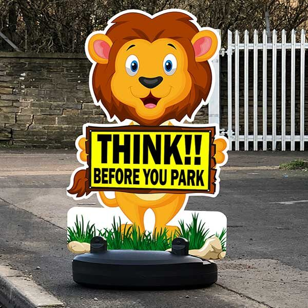 Think before you park sign