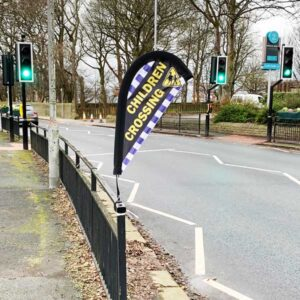 Road Safety Barrier Clamp Flags - Children Crossing