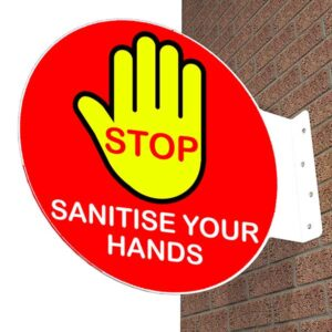 Sanitise Yor Hands Projection Sign