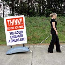 Think! Before You Park, Heavy Duty Pavement Safety Sign alternate image