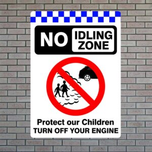 No Idling Zone Protect Children, Turn Off Engine Sign