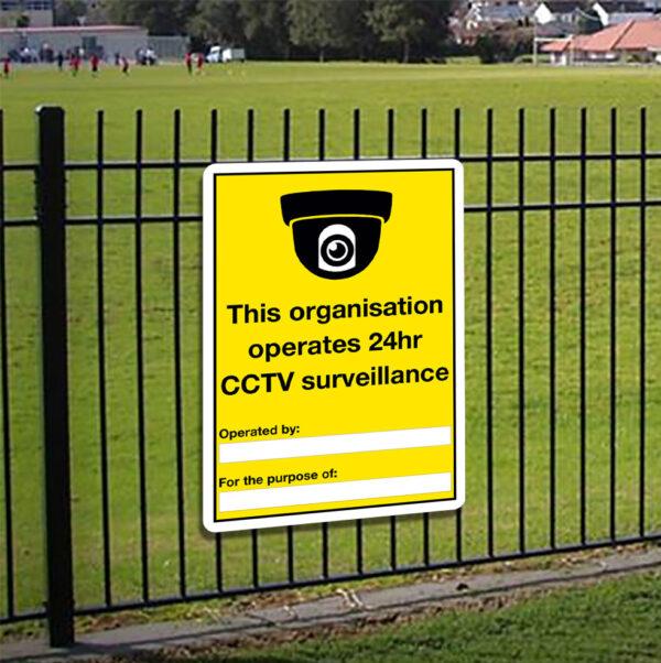 This Organisation Operates 24hr CCTV Sign