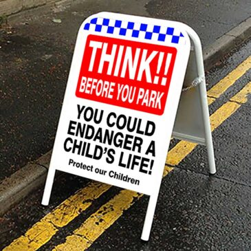 Think! Before you park Road Safety Sign