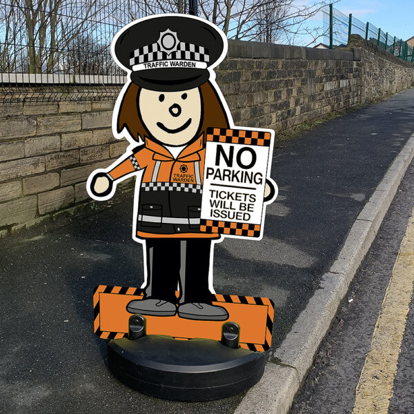 Traffic Warden Lady Road Safety Kiddie Cut Out Pavement Sign