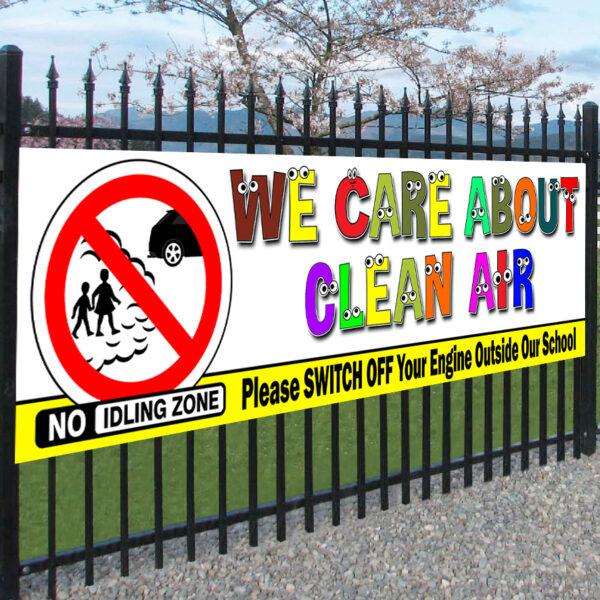 No Idling Clean Air Turn Engine Off School Banner