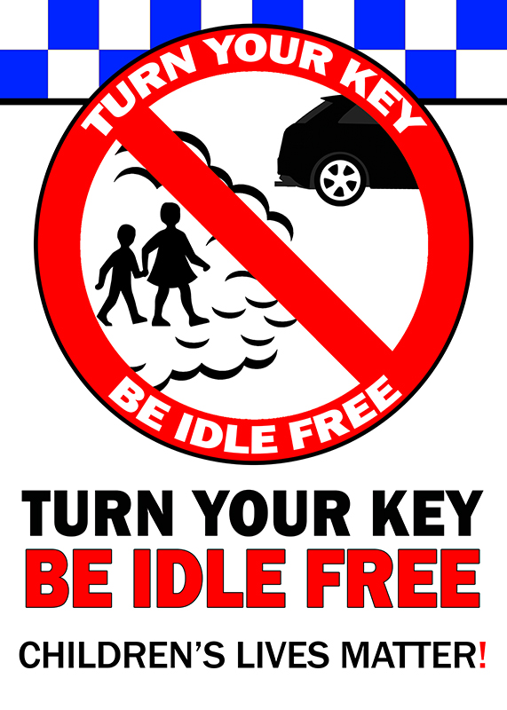 Turn Your Key Be Idle Free Pavement Sign