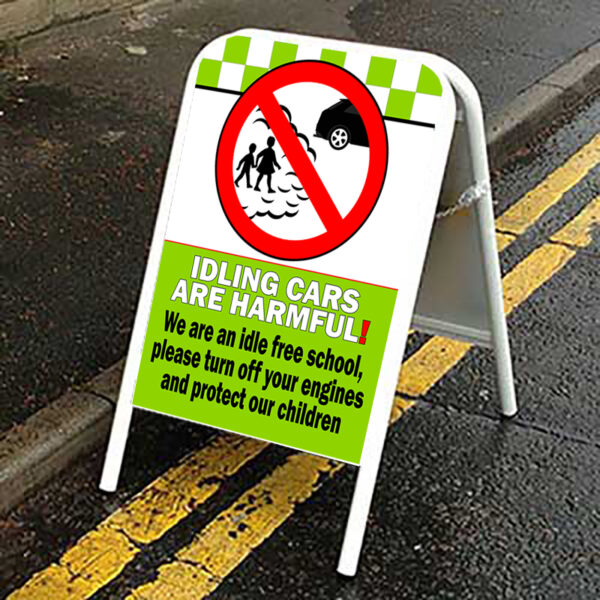 Idling Cars Are Harmful Idle Free School Pavement Road Sign