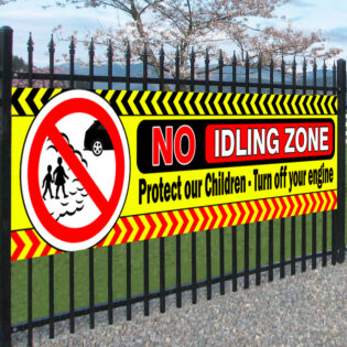 No Idling Zone Child Safety Banner - Air Pollution