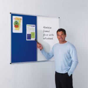 Aluminium framed felt / drywipe dual noticeboards