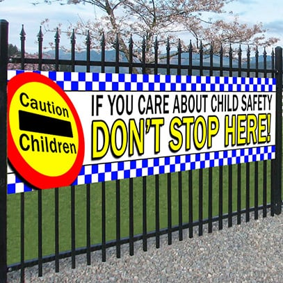 Caution Children Safety Banner
