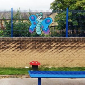 Butterfly Fun Character Aluminium Wall / Fence Sign
