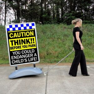 CAUTION Child Safety Heavy Duty Pavement Sign alternate image