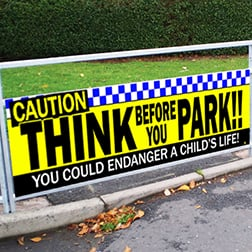 Caution School Safety Banner Railings