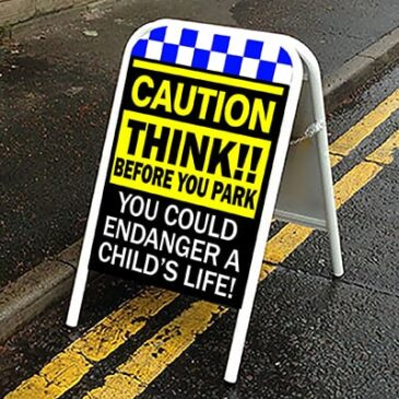Caution Think Pavement Child Safety Sign