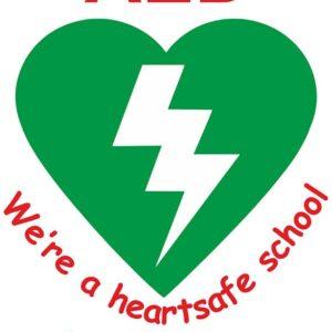 Defibrillator Heart Safe School Sign alternate image