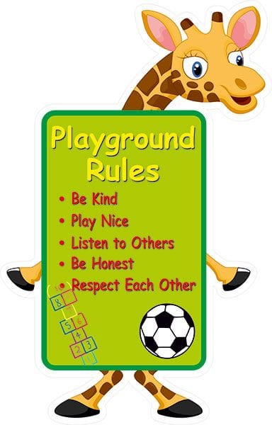 giraffe playground rules sign own wording signs2schools