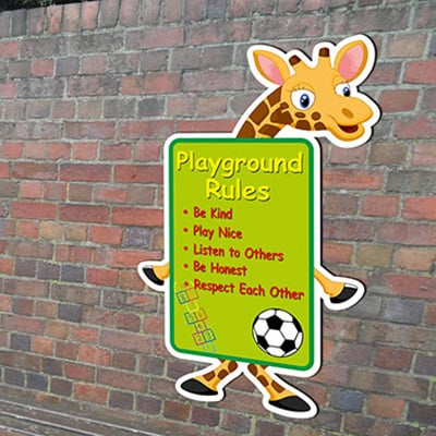 Cartoon Giraffe Playground Signs