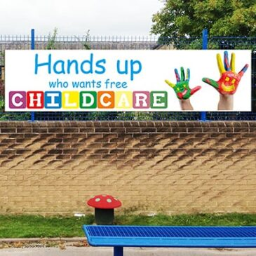 Hands Up Free Childcare Banner