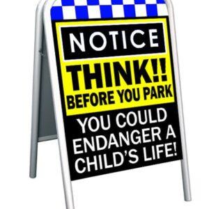 NOTICE THINK!! Pavement safety sign alternate image