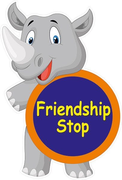 friendship stop rhino funny sign