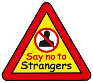 Say NO to Strangers Triangle Warning Sign alternate image